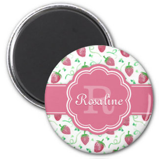Watercolor Strawberry Pattern with Monogram Magnet