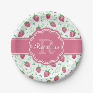 Watercolor Strawberry Pattern with Monogram Paper Plate