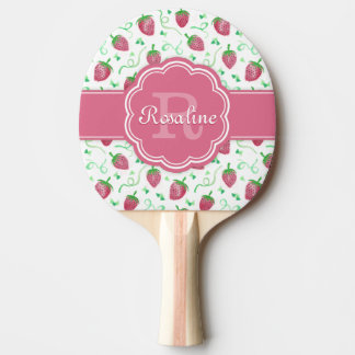 Watercolor Strawberry Pattern with Monogram Ping Pong Paddle