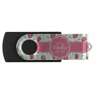 Watercolor Strawberry Pattern with Monogram USB Flash Drive