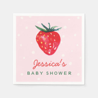 Watercolor Strawberry Personalized Baby Shower Disposable Napkins