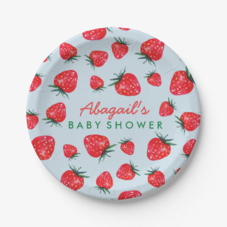 Watercolor Strawberry Personalized Baby Shower Paper Plate