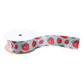 Watercolor Strawberry Ribbon Choose A Color Satin Ribbon