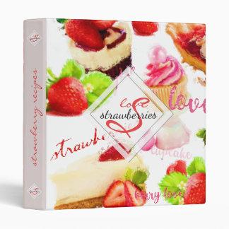 Watercolor Strawberry Sweets Love Monogram Binder