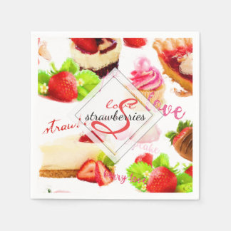 Watercolor Strawberry Sweets Love Monogram Disposable Napkins