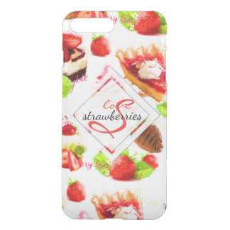 Watercolor Strawberry Sweets Love Monogram iPhone 8 Plus/7 Plus Case