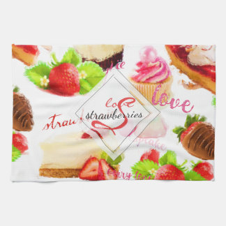 Watercolor Strawberry Sweets Love Monogram Kitchen Towel