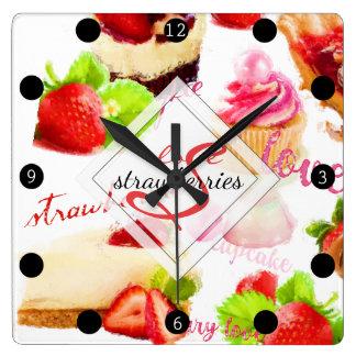 Watercolor Strawberry Sweets Love Monogram Square Wall Clock