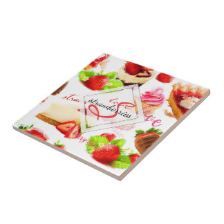 Watercolor Strawberry Sweets Love Monogram Tile