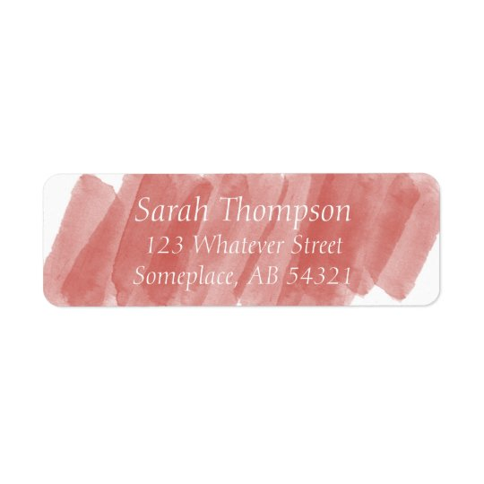 Watercolor Streaks Red Orange Return Address Label