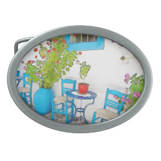 Watercolor street view belt buckle