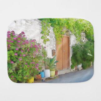 Watercolor street view burp cloth