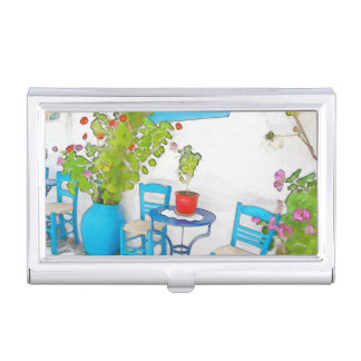 Watercolor street view business card holder