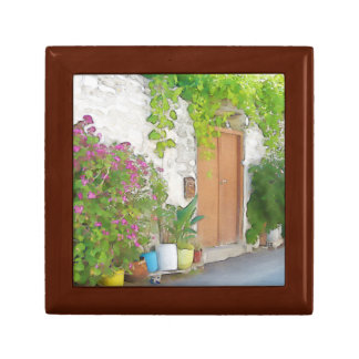 Watercolor street view gift box