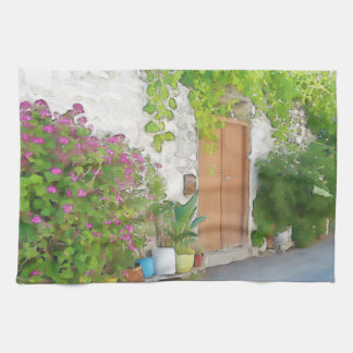 Watercolor street view kitchen towel