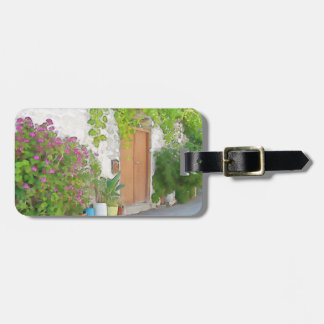 Watercolor street view luggage tag