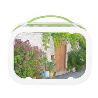 Watercolor street view lunch box