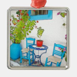Watercolor street view metal ornament