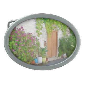 Watercolor street view oval belt buckles