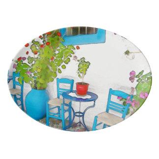 Watercolor street view porcelain serving platter