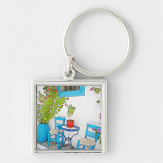 Watercolor street view Silver-Colored square keychain