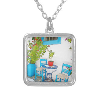 Watercolor street view silver plated necklace