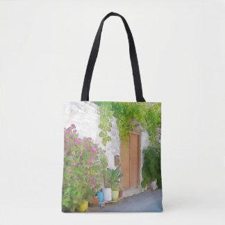 Watercolor street view tote bag