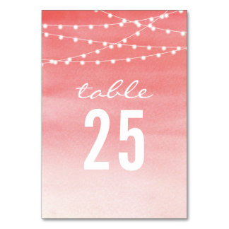 Watercolor String Lights Wedding Table Cards