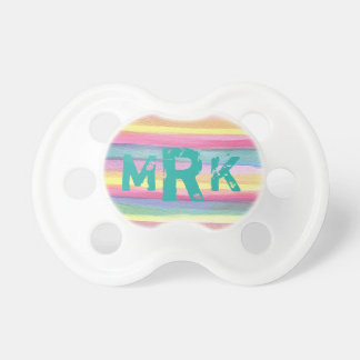 Watercolor Stripe Monogram Turquoise Pacifier