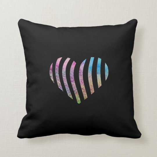 Watercolor striped heart throw pillow