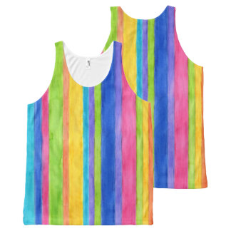 Watercolor Stripes All-Over-Print Tank Top