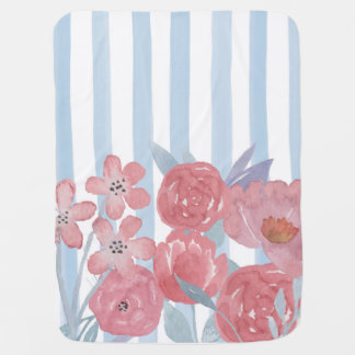 Watercolor Stripes Flowers Baby Blanket