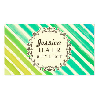 Watercolor Stripes Hair Stylist Appointment Cards Business Card Templates