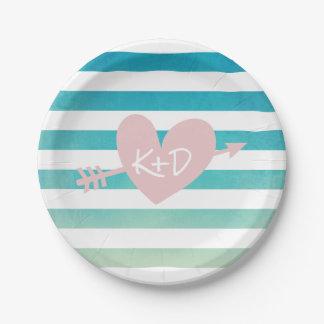 Watercolor Stripes Heart & Arrow Summer Wedding 7 Inch Paper Plate