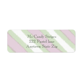 Watercolor Stripes Pattern in Green White and Pink Return Address Label