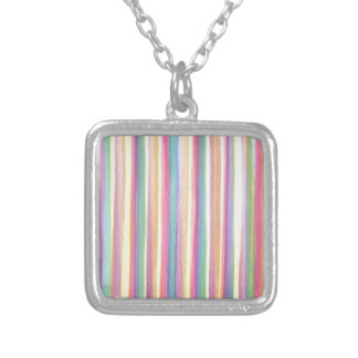 Watercolor Stripes Silver Plated Necklace