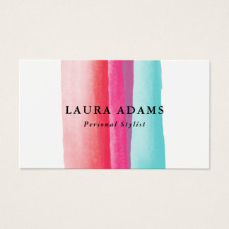 Watercolor Strokes Red Violet Turquoise Business Card
