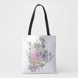 watercolor style floral design tote bag