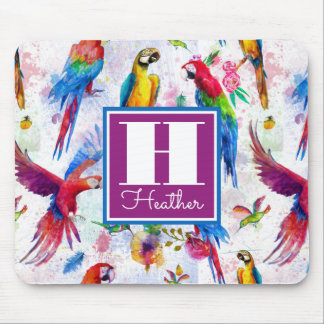 Watercolor Style Parrots | Add Your Name Mouse Pad