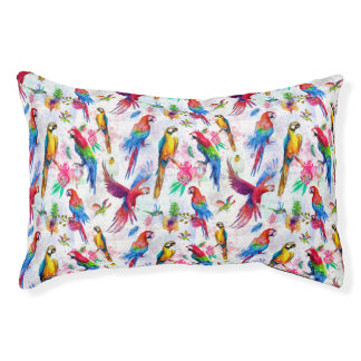 Watercolor Style Parrots Small Dog Bed