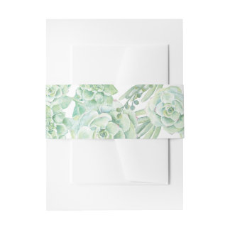 watercolor succulent belly band invitation belly band