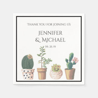 Watercolor Succulent Cactus Wedding Custom Paper Napkin