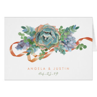 Watercolor Succulent Cluster Thank You Card