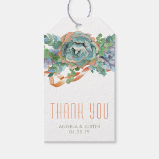 Watercolor Succulent Cluster Thank You Gift Tags