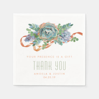 Watercolor Succulent Cluster Wedding 2 Paper Napkin