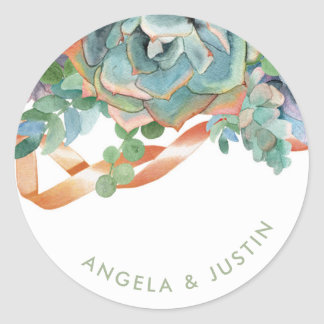 Watercolor Succulent Cluster Wedding Classic Round Sticker