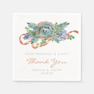 Watercolor Succulent Cluster Wedding Disposable Napkins