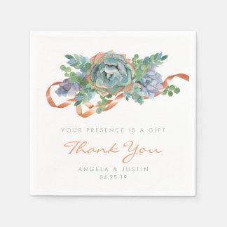 Watercolor Succulent Cluster Wedding Paper Napkin