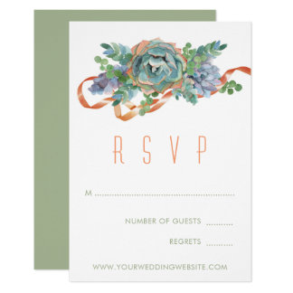 Watercolor Succulent Cluster Wedding RSVP 2 Card