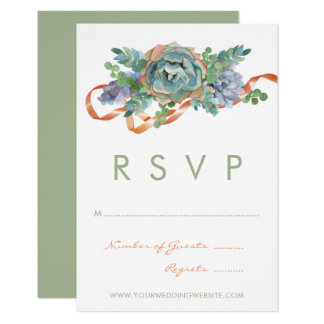 Watercolor Succulent Cluster Wedding RSVP Card